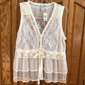 NWT American Rag Sheer Lace Vest